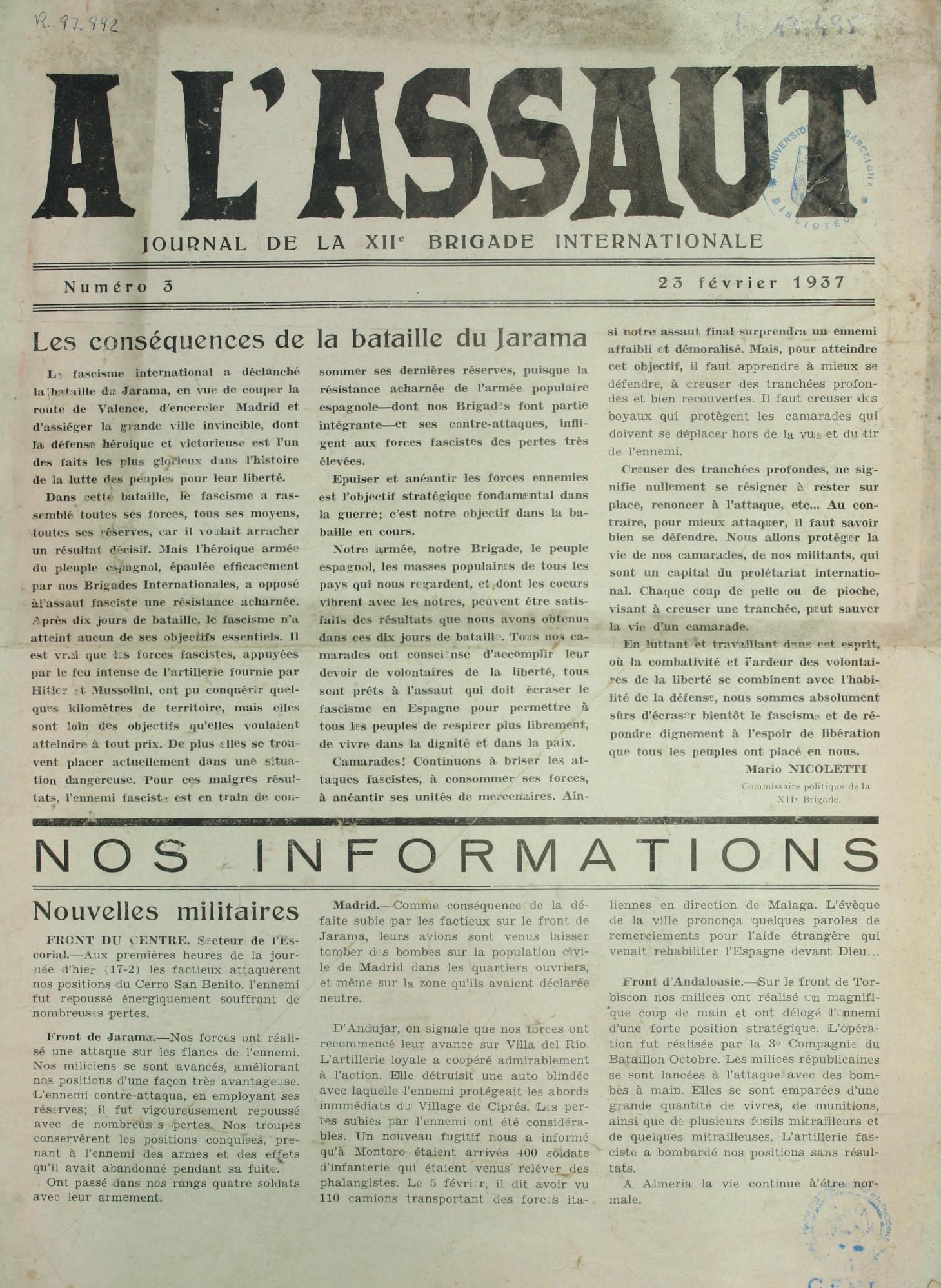 À l'assaut : journal de la XII Brigade internationale