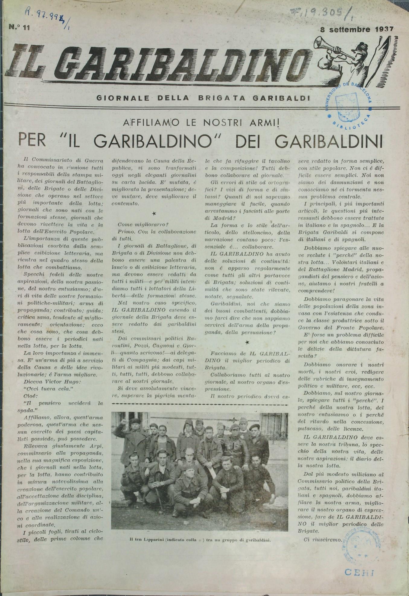 Il Garibaldino : giornale della Brigata Garibaldi