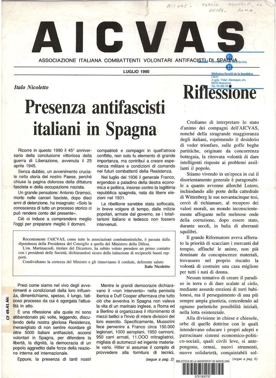 AICVAS : Associazione italiana combattenti volontari antifascisti di Spagna