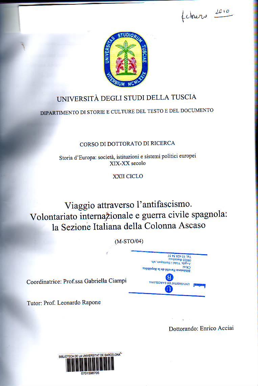 Viaggio attraverso l'antifascismo : Voluntariato internazionale e guerra civile spagnola : la Sezione Italiana della Colonna Ascaso.